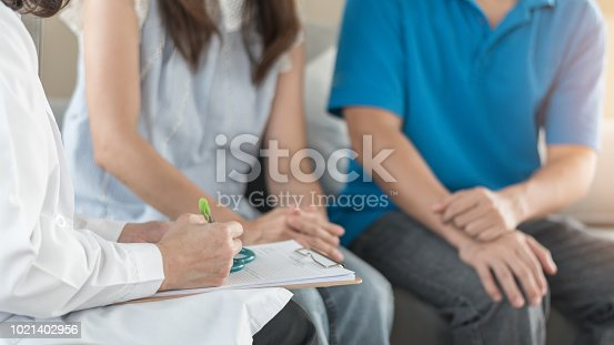 istock Doctor or psychologist with patient couple consulting on marriage counseling, family medical healthcare therapy, fertility treatment for infertility, or psychotherapy session concept 1021402956