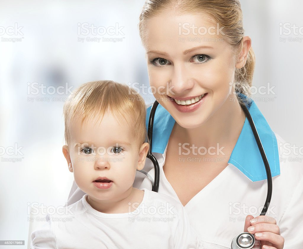 doctor pediatrician and patient happy child baby royalty-free stock photo