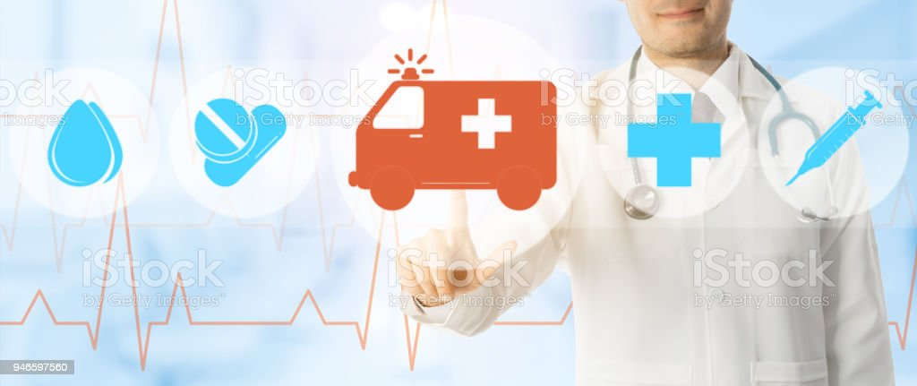 Doctor points at ambulance and emergency icon stock photo