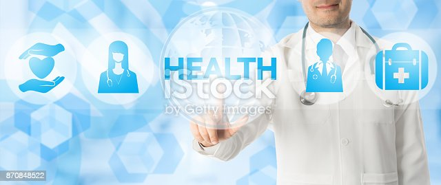 688358418istockphoto Doctor Points at HEALTH with Medical Icons 870848522