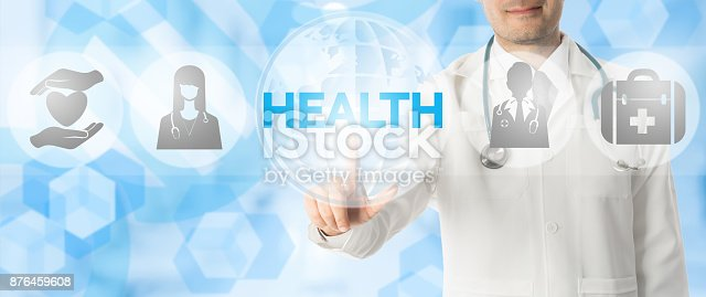 688358418istockphoto Doctor Points at HEALTH with Medical Icons 876459608