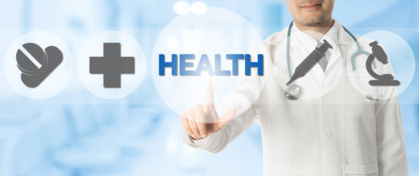 Doctor Points at HEALTH with Medical Icons stock photo