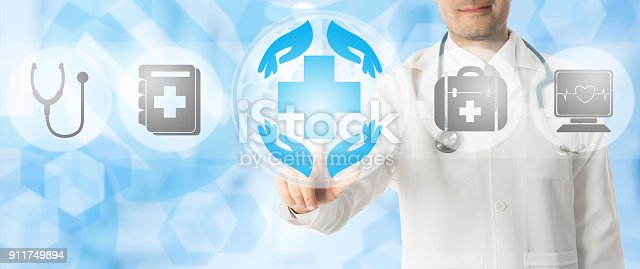 istock Doctor points at healthcare medical icons. 911749894