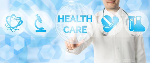 arzt punkte bei healthcare mit medizinischen symbolen. - arzt zitate stock-fotos und bilder
