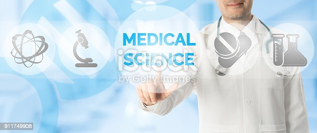 688358418 istock photo Doctor Points at MEDICAL SCIENCE with Medical Icon 911749908