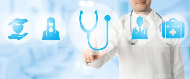 arzt-punkte am stethoskop mit medizinischen symbolen. - arzt zitate stock-fotos und bilder