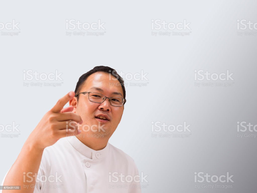 A doctor points to your finger and explains it. stock photo