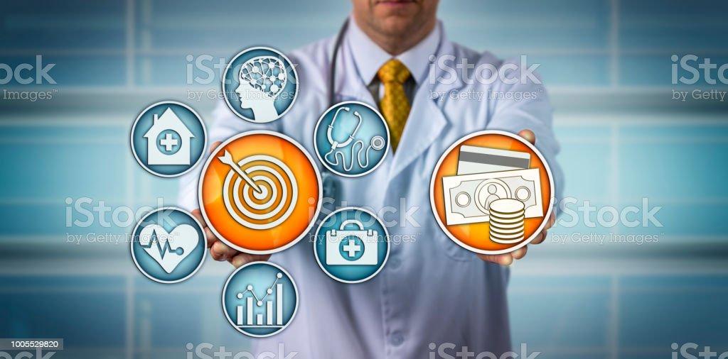 Doctor Presenting Value-Based Healthcare Model stock photo