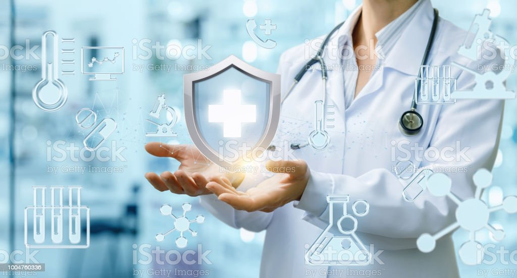 Doctor provides a health guarantee . stock photo