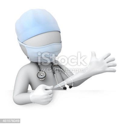istock doctor pulls a glove 451576049