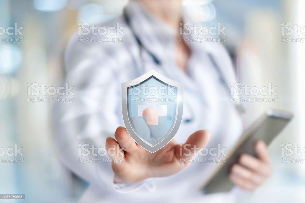 Arzt stellt den Schutz der Gesundheit. - Lizenzfrei Gesundheitswesen und Medizin Stock-Foto