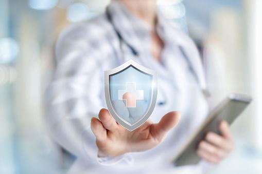 Arzt Stellt Den Schutz Der Gesundheit Stockfoto und mehr Bilder von Arzt
