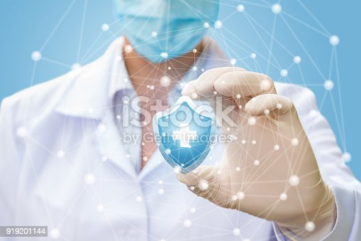 istock Doctor puts the protection of human health in the network . 919201144