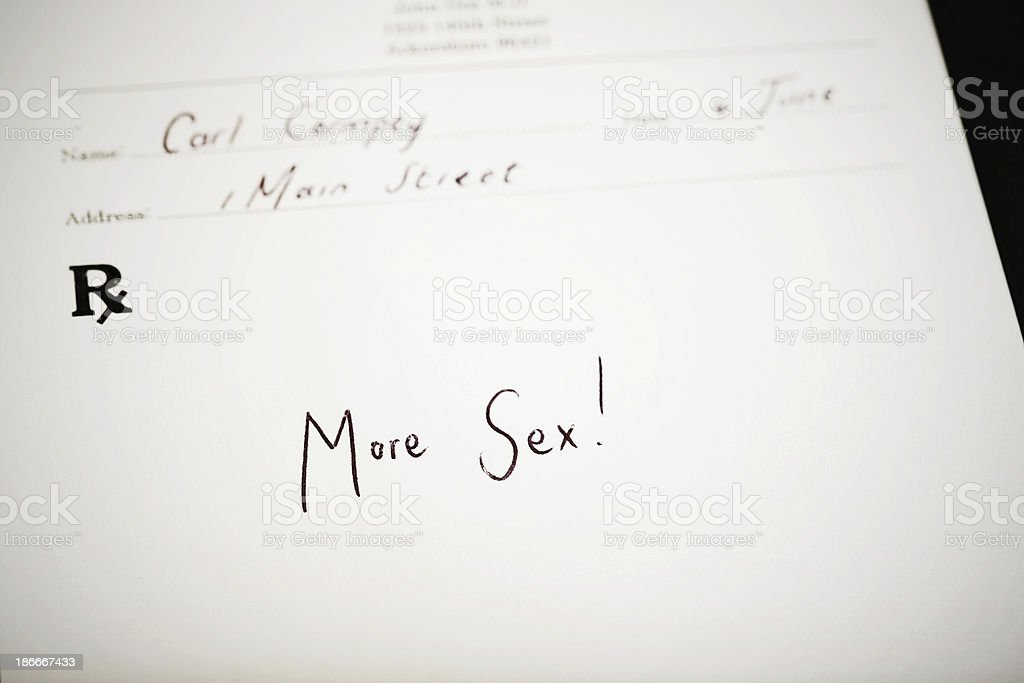Doctor recommends more sex! stock photo