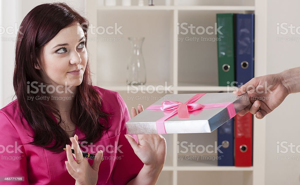 Doctor refusing to take bribe stock photo