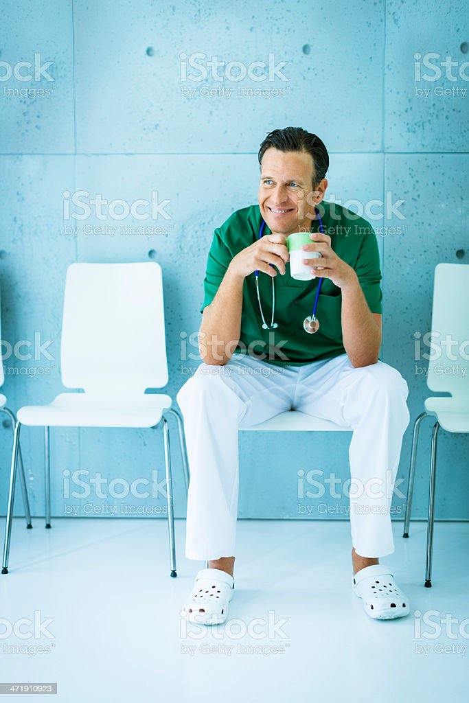 Doctor relaxing after operation royalty-free stock photo