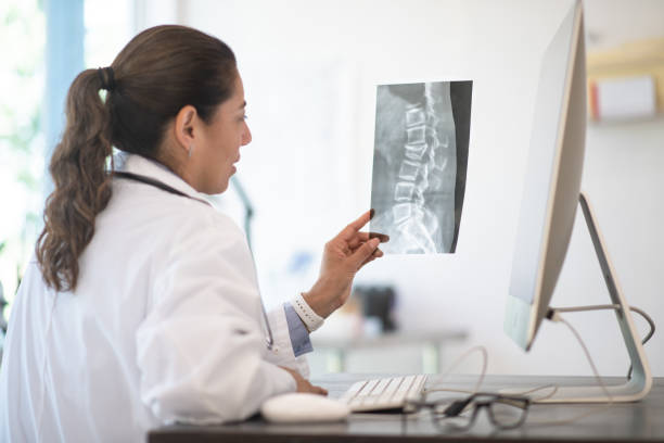A Doctor Reviewing X-ray Results stock photo A Doctor reviewing her patients x-ray results for possibly breaks, fractures and abnormalities human vertebra stock pictures, royalty-free photos & images