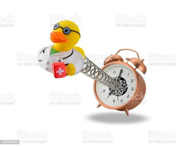 Photo of Doctor rubber duck springing out of alarm clock