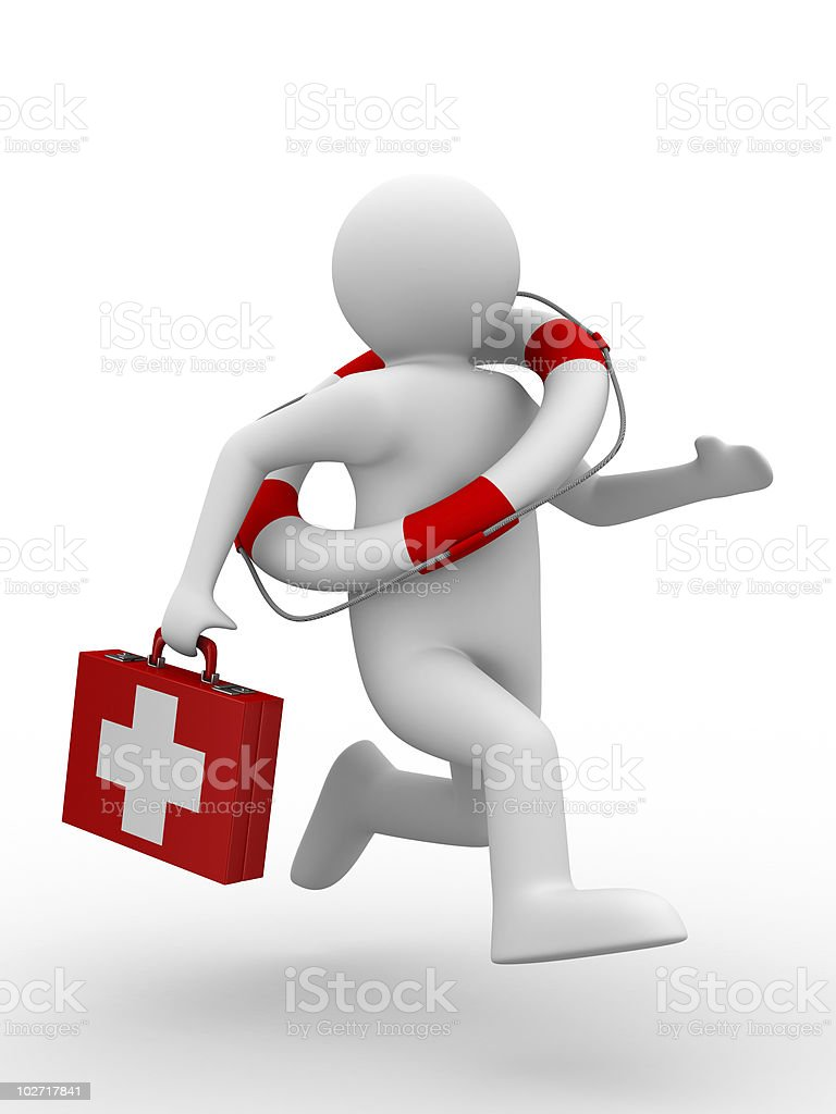 doctor runs to aid. Isolated 3D image royalty-free stock photo