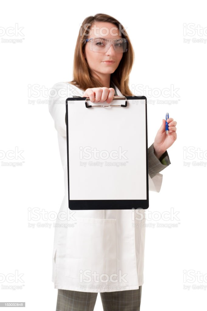 Doctor Scientist with Blank Clipboard Isolated on White Background royalty-free stock photo