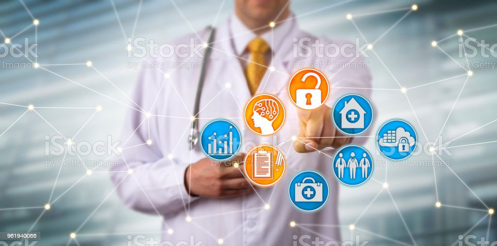 Doctor Securely Accessing EHR Via AI In Network stock photo