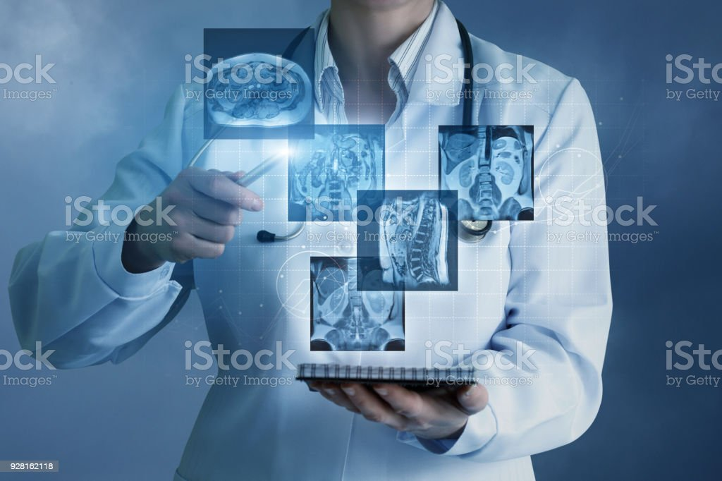 Doctor sees virtual images of the patient . stock photo