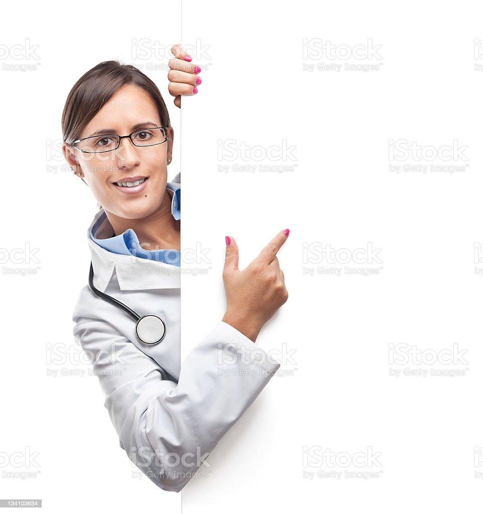 Doctor Show Blank Sign stock photo