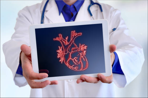 Doctor showing a heart on a tablet in front closeup stock photo
