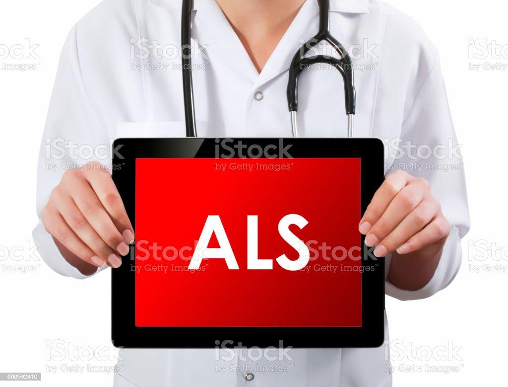 Doktor gösteren dijital tablet ekran. ALS stok fotoğrafı