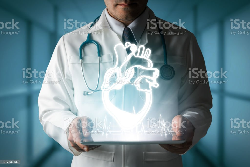 Doctor showing heart hologram from computer. - Стоковые фото Баннер - знак роялти-фри
