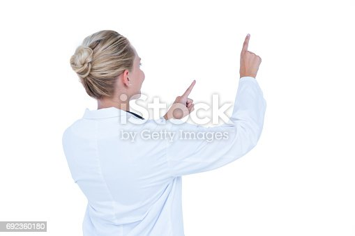 istock Doctor showing with finger 692360180