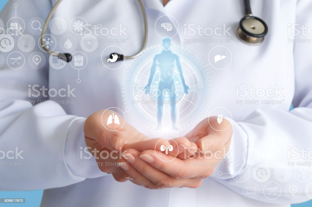 Doctor shows a hologram of a patient . stock photo