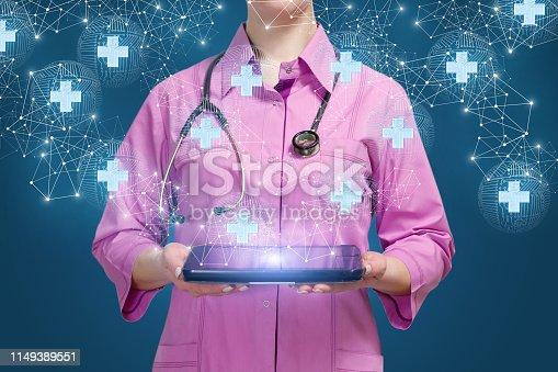 Doctor shows medical network on blue background.