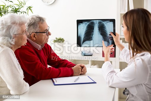 istock Doctor shows results to old patient x-ray of the lungs 638227560