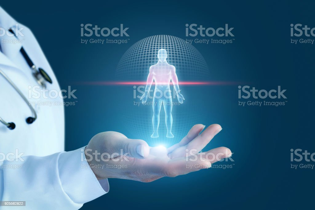 Doctor shows the process of scanning a patient . royalty-free stock photo