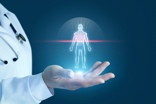 istock Doctor shows the process of scanning a patient . 925562822