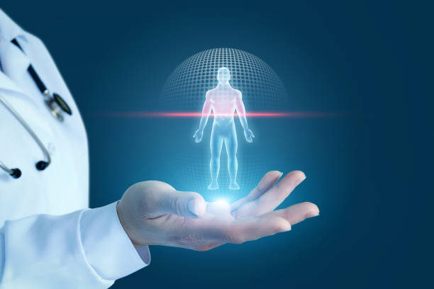 Doctor shows the process of scanning a patient . Doctor shows the process of scanning a patient on a blue background. the human body stock pictures, royalty-free photos & images