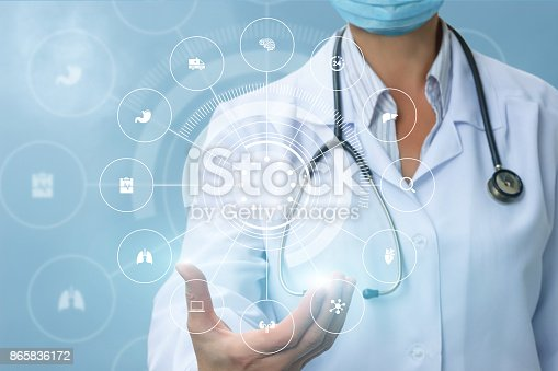 istock Doctor shows the structure of medical care and treatment . 865836172