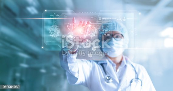 istock Doctor, surgeon analyzing patient brain testing result and human anatomy on technological digital futuristic virtual computer interface, digital holographic, innovative in science and medicine concept 962094932