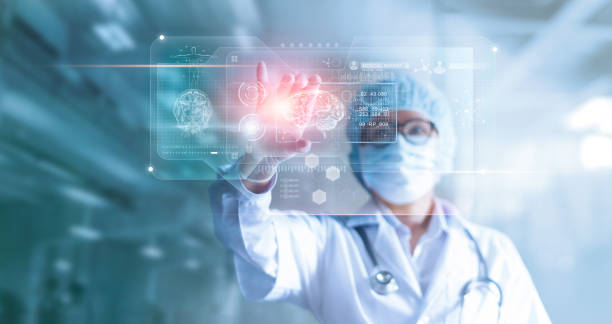 doctor, surgeon analyzing patient brain testing result and human anatomy on technological digital futuristic virtual computer interface, digital holographic, innovative in science and medicine concept - medical research stock photos and pictures
