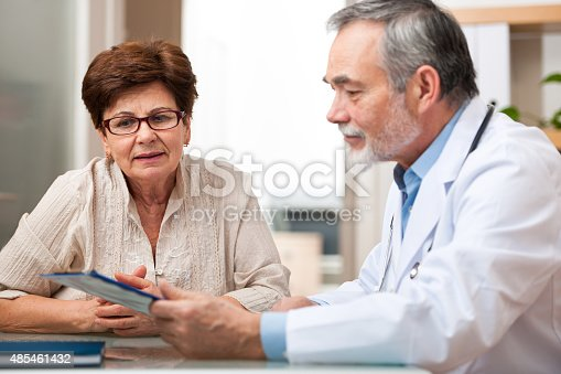 istock Doctor talking to his female senior patient 485461432