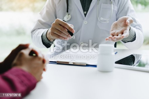 1026367516 istock photo Doctor talking to the patient about suggest the properties of medicines in clinic office. 1137970916