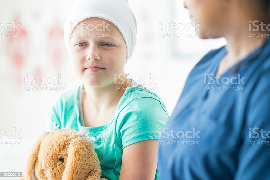 Doctor Talking with a Patient with Cancer stock photo
