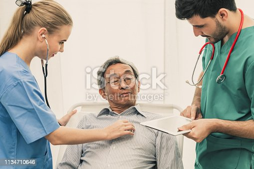 840514774istockphoto Doctor team taking care of senior adult man patient lying on bed in hospital ward. Medical healthcare staff service treatment concept. 1134710646