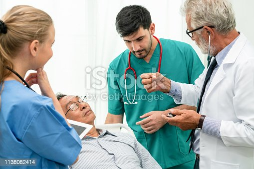 840514774istockphoto Doctor team taking care of senior adult man patient lying on bed in hospital ward. Medical healthcare staff service treatment concept. 1138082414