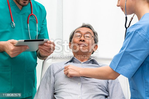 840514774istockphoto Doctor team taking care of senior adult man patient lying on bed in hospital ward. Medical healthcare staff service treatment concept. 1138082575