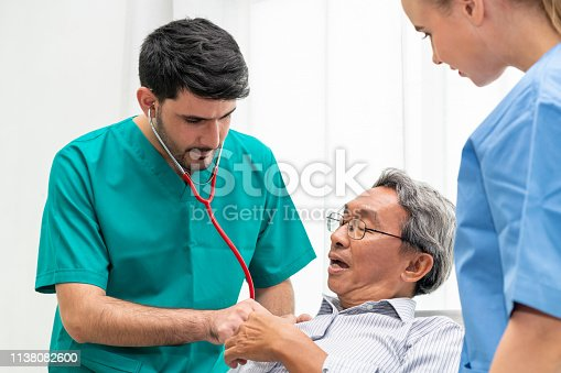 840514774istockphoto Doctor team taking care of senior adult man patient lying on bed in hospital ward. Medical healthcare staff service treatment concept. 1138082600