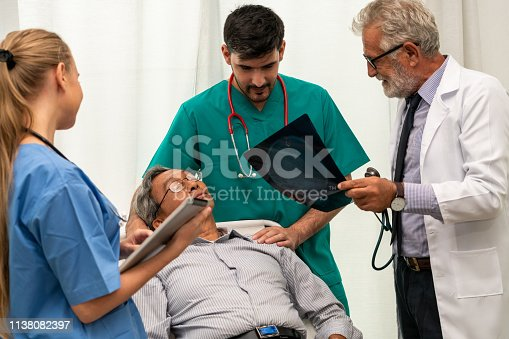 840514774istockphoto Doctor team work with x ray film image of the senior adult patient lying on the bed in the hospital ward room. Medical group teamwork and healthcare person staff service. 1138082397