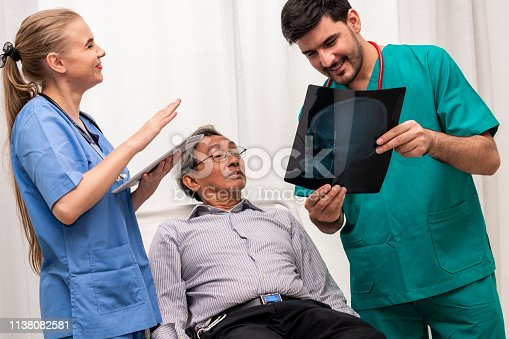 840514774istockphoto Doctor team work with x ray film image of the senior adult patient lying on the bed in the hospital ward room. Medical group teamwork and healthcare person staff service. 1138082581
