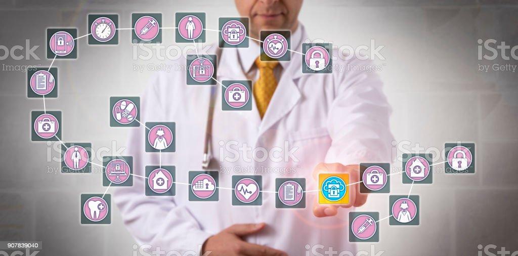 Doctor Touching Data Block In Medical Blockchain stock photo